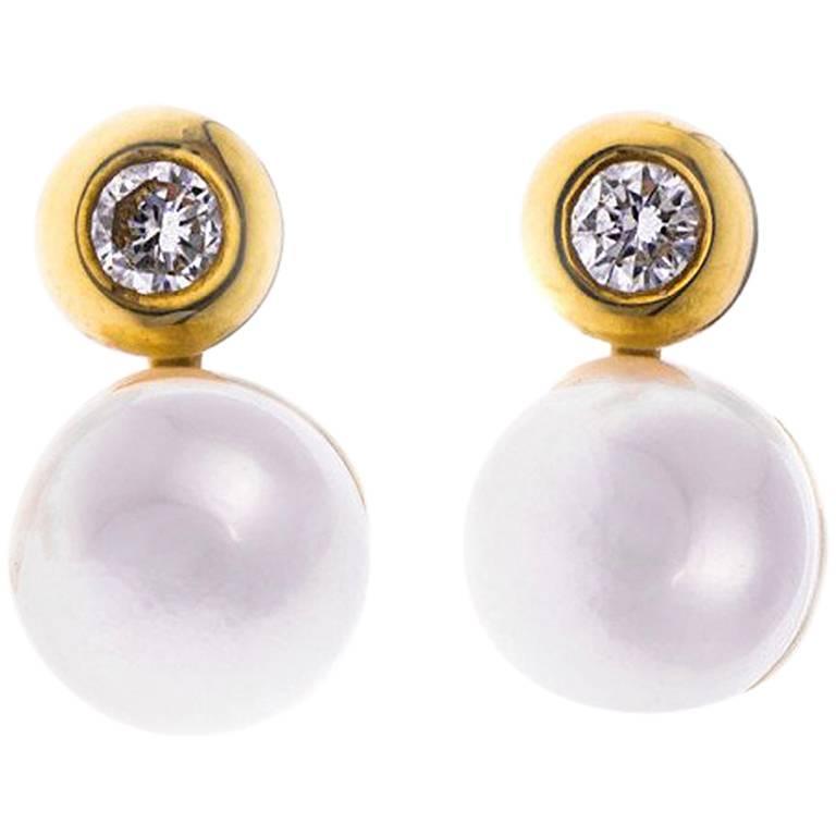 Akoya Pearl Diamond Earrings
