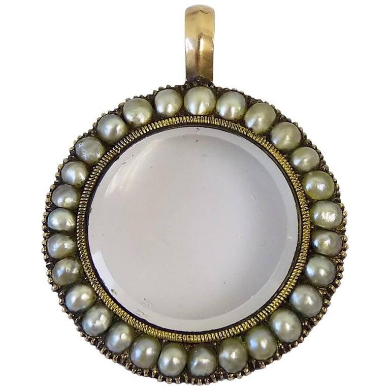 Georgian Pearl Gold Locket Pendant