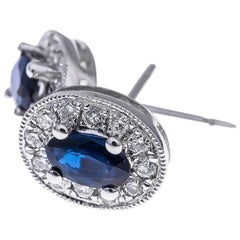 18 Carat White Gold 0.65 Carat Sapphire and Diamond Earrings