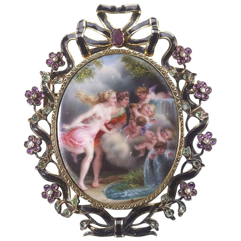 French Enameled Miniature Brooch