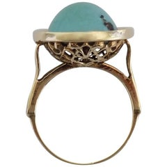 14K Antique Turquoise Gold Dome Solitaire Ring