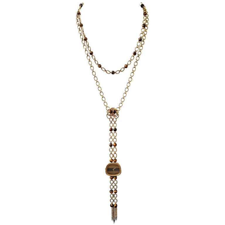 Piaget Tiger's Eye Watch Necklace