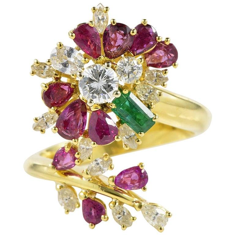 Burmese Rubies Diamond Emerald Flower Vintage Cocktail Ring
