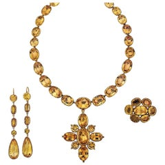 Georgian Topaz Suite with Riviere, Pendant, Brooch and Earrings