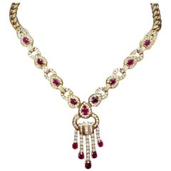 Ruby and Diamond Dangle Necklace