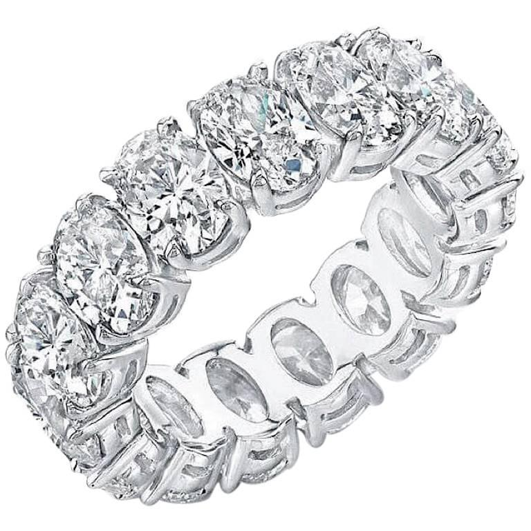 Oval Diamond Platinum Eternity Band Approximately .40 Carat Each Diamond For Sale