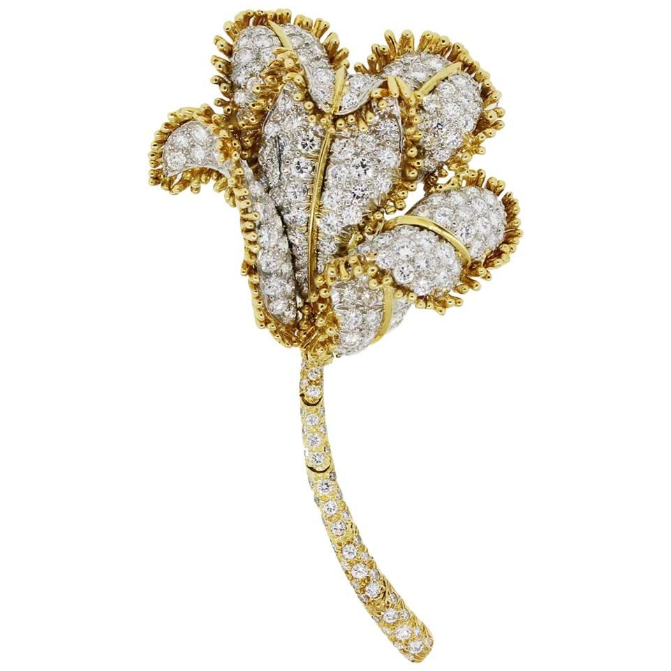 David Webb 13 Carat Diamond Flower Design Brooch
