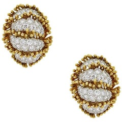 David Webb 6 Carat Round Brilliant Diamond Earrings