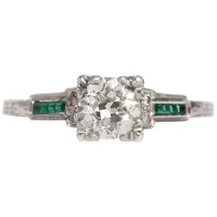 1930 White Gold Art Deco Circular Brilliant Diamond and Emerald Engagement Ring