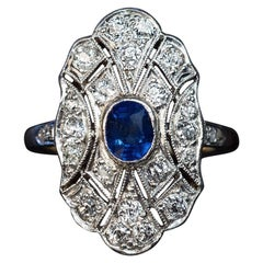 Antique Sapphire Diamond Ring, 1910s