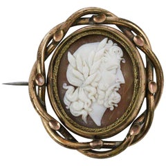 Victorian Gold-Filled Reversible Cameo Hair Mourning Brooch