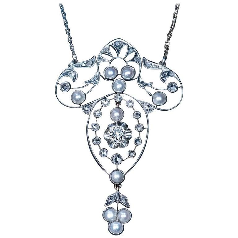 Antique Edwardian Pearl Diamond Pendant Necklace, 1900s