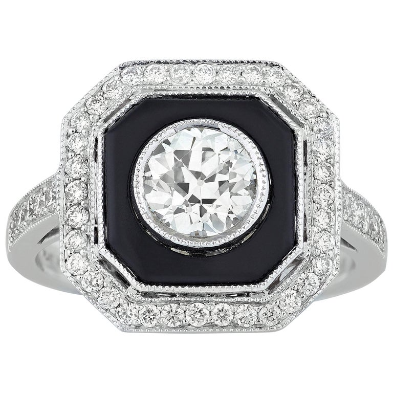 Art Deco-Style Diamond and Onyx Ring