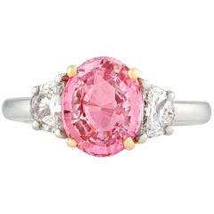 Padparadscha Sapphire Ring, 3.07 Carat