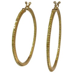 Hoop Earrings with Natural Fancy Yellow Diamonds