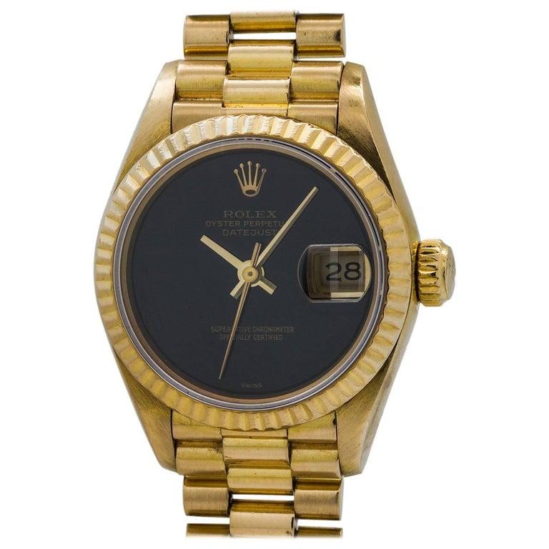 Rolex Ladies Yellow Gold Datejust Onyx President Self Winding Wristwatch