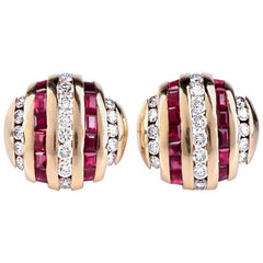 Ruby and Diamond Yellow Gold Clip-Back Stud Earrings