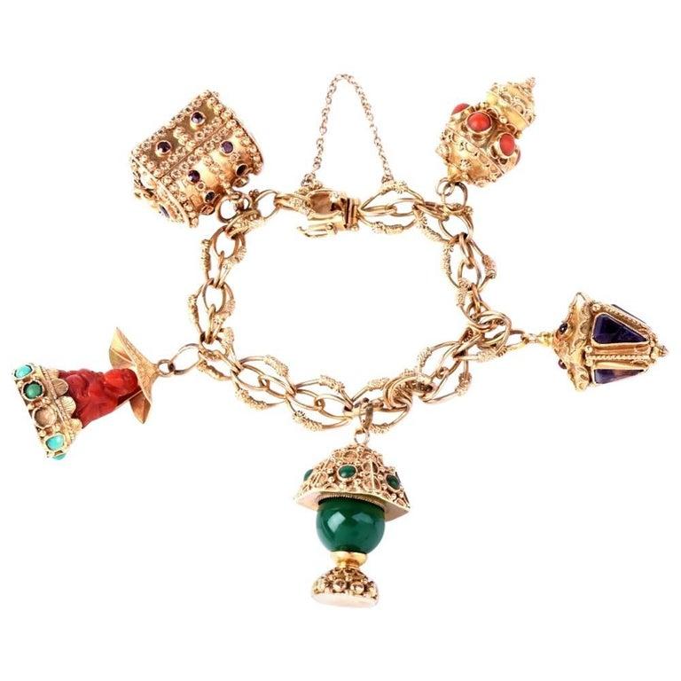 1960s Italian Gold Charm Bracelet For