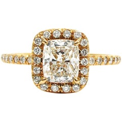 GIA Certified 1.35 Carat Total Cushion Pave Halo Engagement Ring