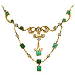 Turn of the Century Emerald Diamond and Yellow Gold Festoon Necklace