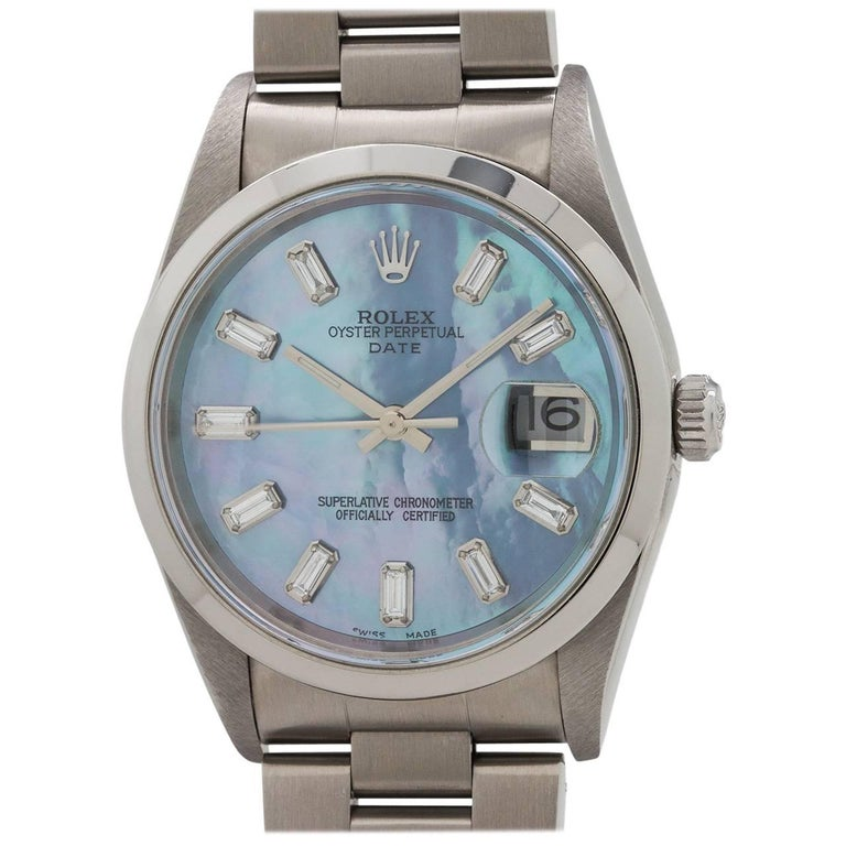 Rolex Stainless Steel Oyster Perpetual Date Mother-of-Pearl Dial Wristwatch