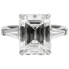 GIA Certified 3.24 carat H VS1 Emerald Cut Classic Diamond Platinum Ring