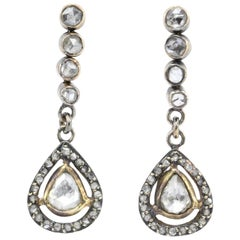 Victorian 10 Karat Rose Gold Rose Cut Diamond Drop Earrings, circa 1890