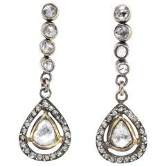 Victorian 10 Karat Rose Gold Rose Cut Diamond Drop Earrings, circa 1890