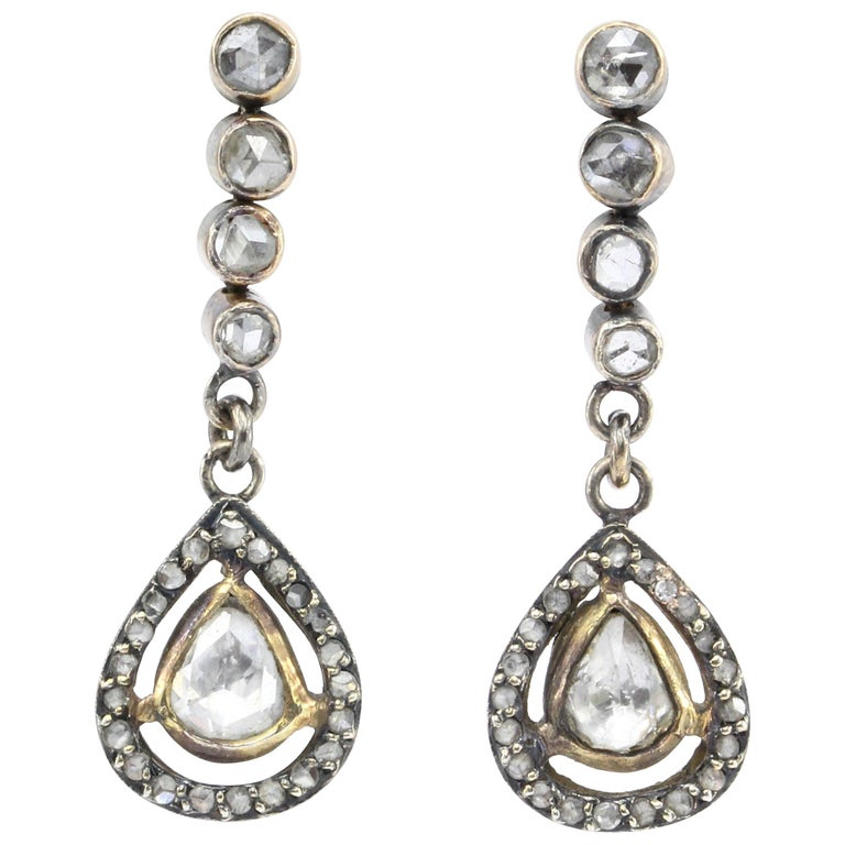 Victorian 10 Karat Rose Gold Rose Cut Diamond Drop Earrings, circa 1890 For Sale
