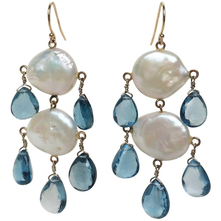Marina J Double Pearl Earrings with London Blue Topaz Drops