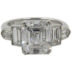 Vintage GIA 2.56 Carat Emerald Cut Diamond Platinum Engagement Ring