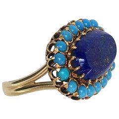 Lapis Lazuli , Turquoise, and 14k Yellow Gold Ring Size 7.5