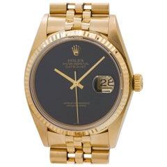 Rolex Yellow Gold Onyx Dial Datejust Wristwatch Ref 16018, circa 1980