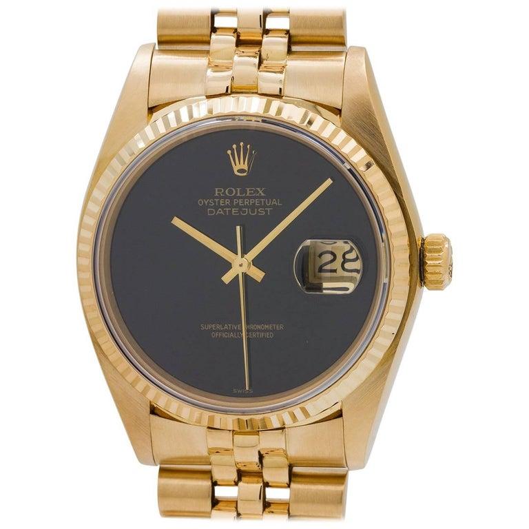Rolex Yellow Gold Onyx Dial Datejust Wristwatch Ref 16018 ...