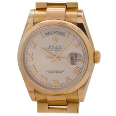Rolex Yellow Gold Oyster President Roman Rose Dial Wristwatch, circa 2000