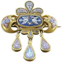 Victorian Italian Micro-Mosaic Gold Dove Brooch