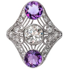 GIA Certified 1.34 Carat with 2 Carat Amethyst Platinum Cocktail Ring