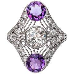 1920s Art Deco GIA Certified 1.34 Carat Diamond Amethyst Platinum Shield Ring
