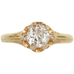 1910 Edwardian .54 Carat Old European Brilliant Diamond Gold Engagement Ring