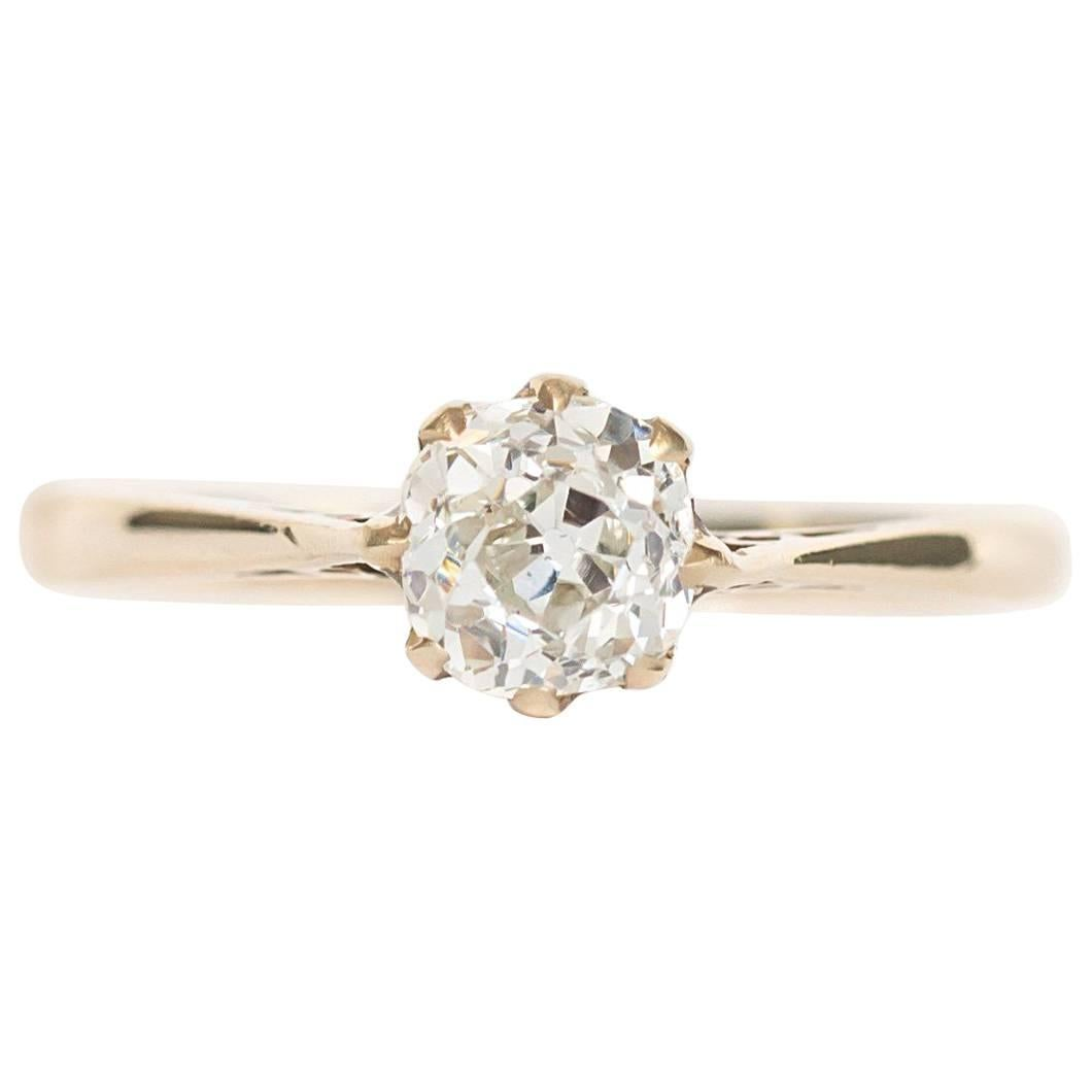 1890s Victorian Old Mine Brilliant Cut Diamond Engagement Yellow Gold Ring