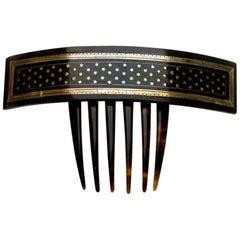 Large Victorian Piqué Star Hair Comb