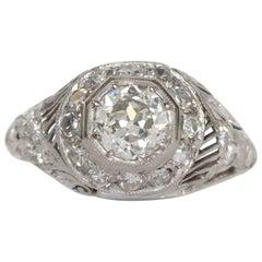 1920 Art Deco .74 Carat Circular Brilliant Cut Diamond Platinum Engagement Ring
