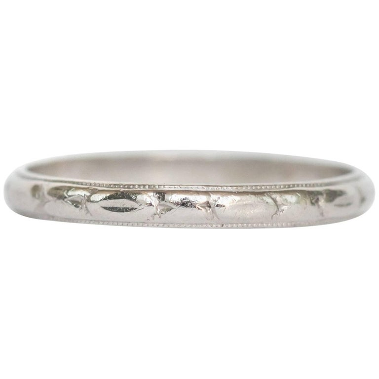 1920s Art Deco Platinum Wedding Band For Sale