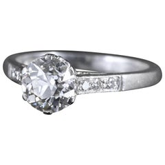 Antique Edwardian Platinum 1.58 Carat Solitaire Diamond Ring, circa 1915