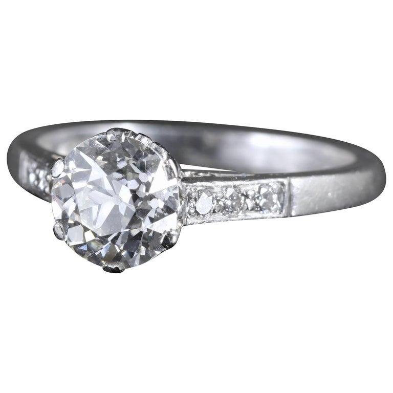 Antique Edwardian Platinum 1.58 Carat Solitaire Diamond Ring, circa 1915