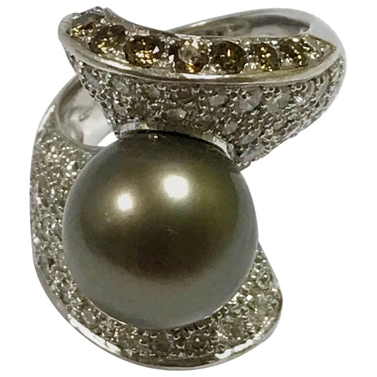 Cultured Pearl White And Brown Diamonds White Gold Ring