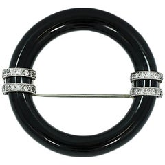 Art Deco Marcus & Co. Onyx and Diamond Circle Pin