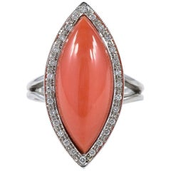 Sardinia Red Coral and Diamond Vintage Natural Coral Ring