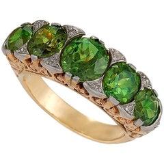 Antique Five-Stone Demantoid Garnet and Diamond Ring