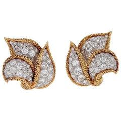 Van Cleef & Arpels Paris Mid-20th Century Diamond and Gold Earrings
